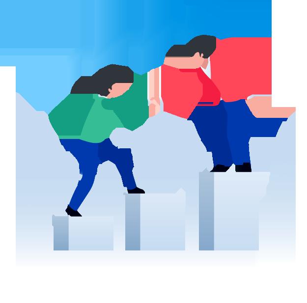 illustration d'une icone de statistique et deux hommes