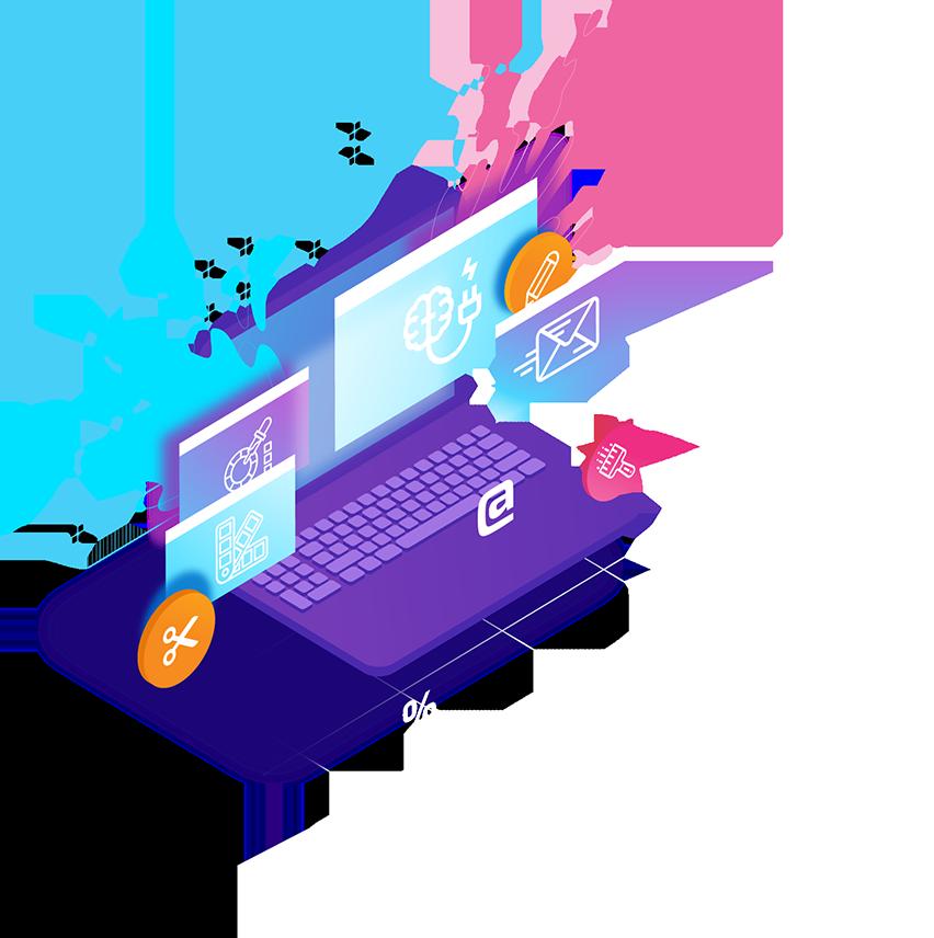 ordinateur et icone des réseaux sociaux